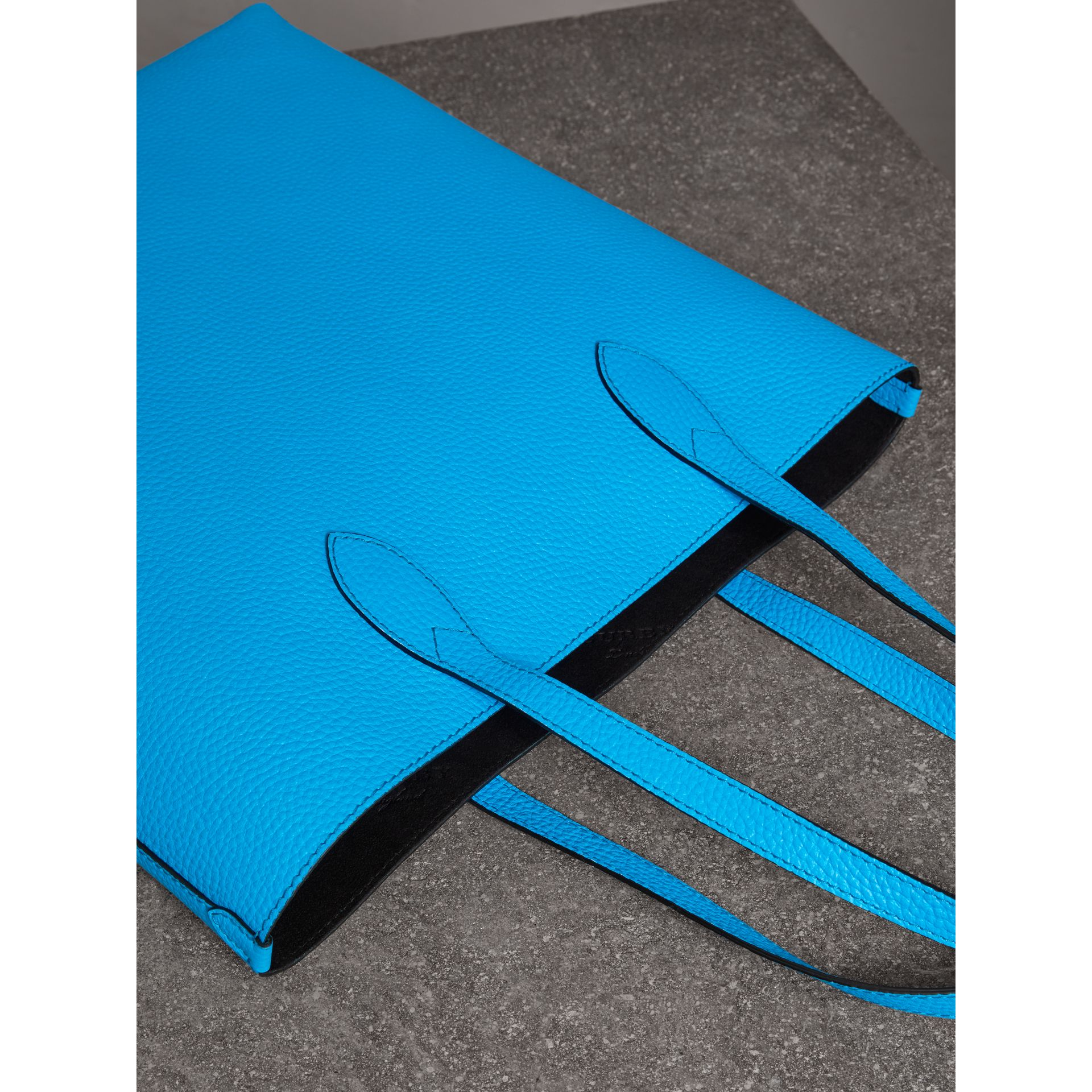 Embossed Leather Tote in Neon Blue | Burberry Australia - gallery image 4