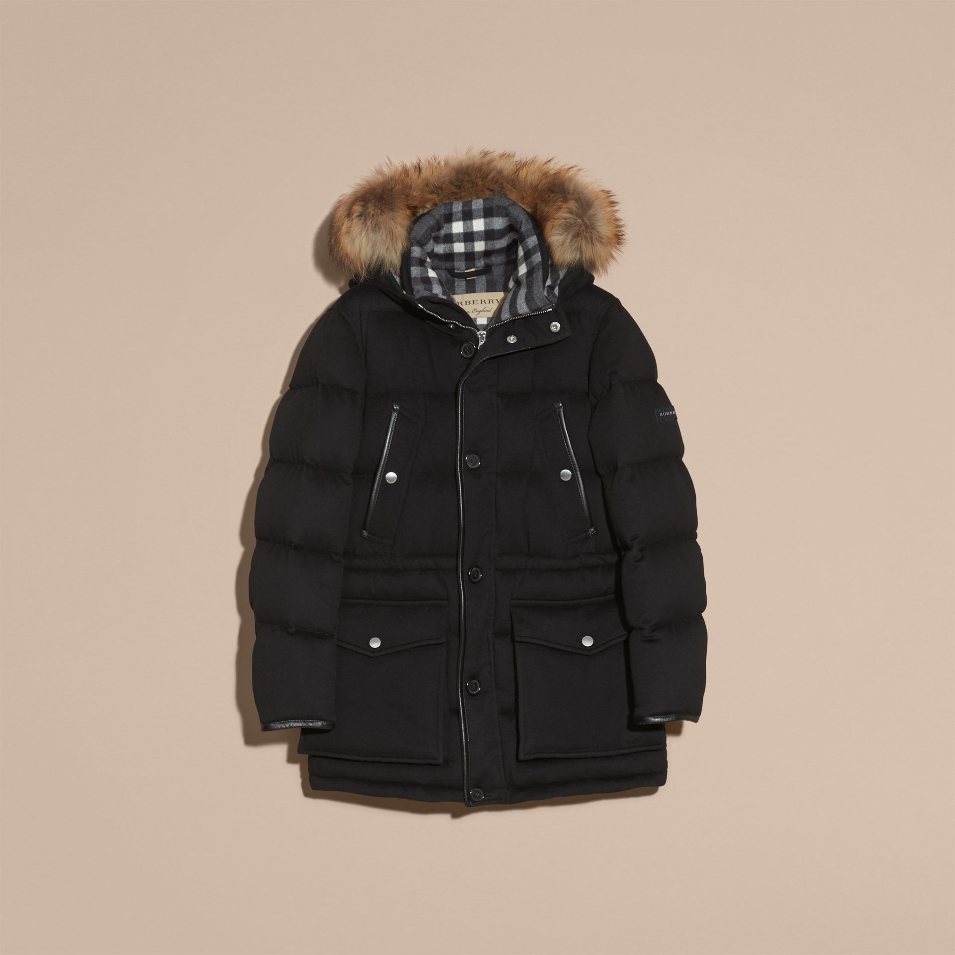 Down-filled Cashmere Parka with Detachable Fur Trim in Black - gallery image 4