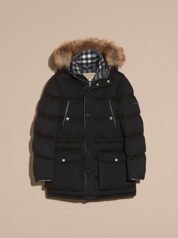 Down-filled Cashmere Parka with Detachable Fur Trim in Black - cell image 3