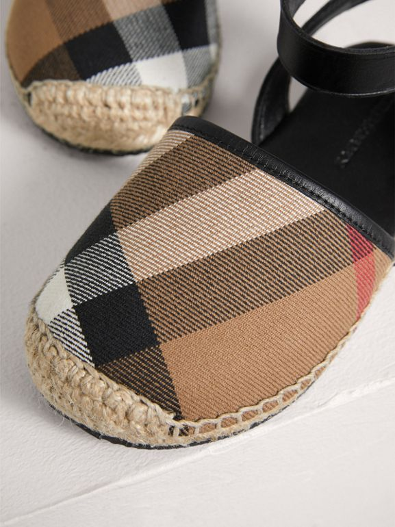 Leather Ankle Strap and House Check Espadrille Sandals in Black | Burberry - cell image 1