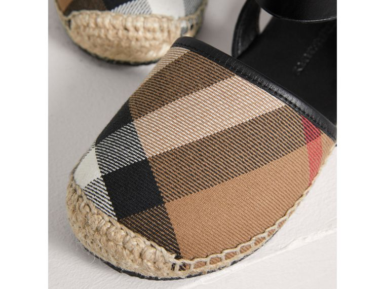 Leather Ankle Strap and House Check Espadrille Sandals in Black - Girl | Burberry - cell image 1