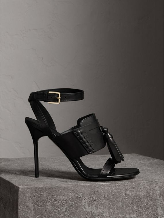 Tassel Detail Leather Sandals in Black