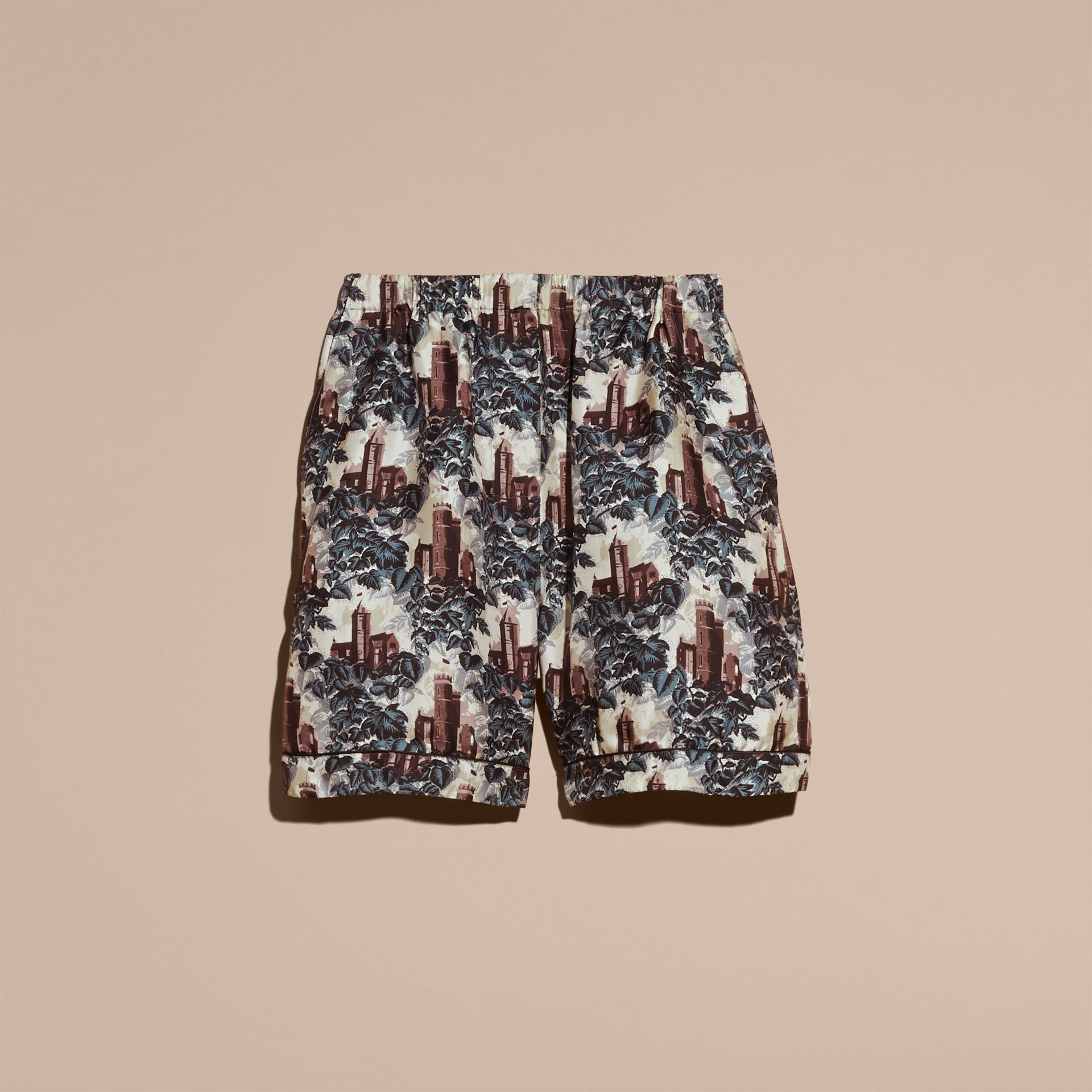 Airforce blue Castle Print Silk Twill Pyjama-style Shorts - gallery image 4
