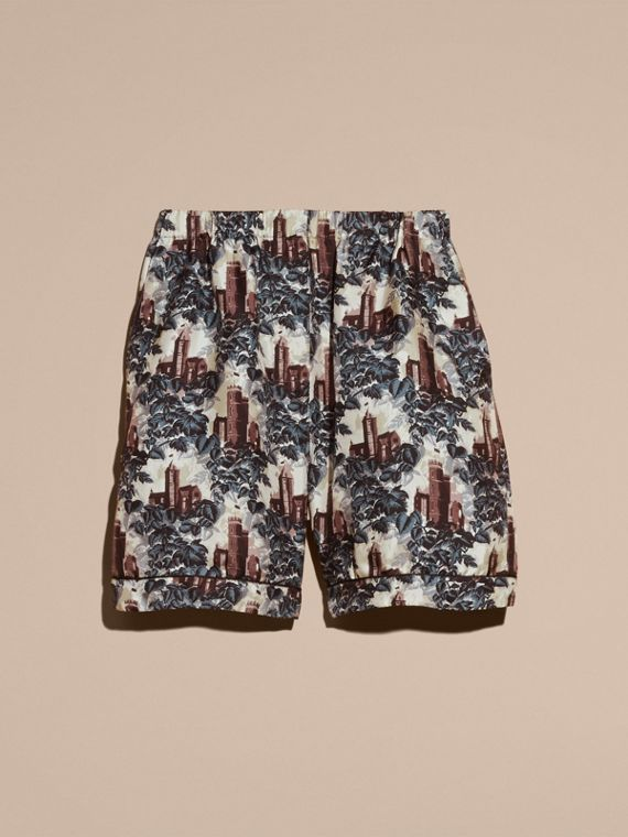 Airforce blue Castle Print Silk Twill Pyjama-style Shorts - cell image 3