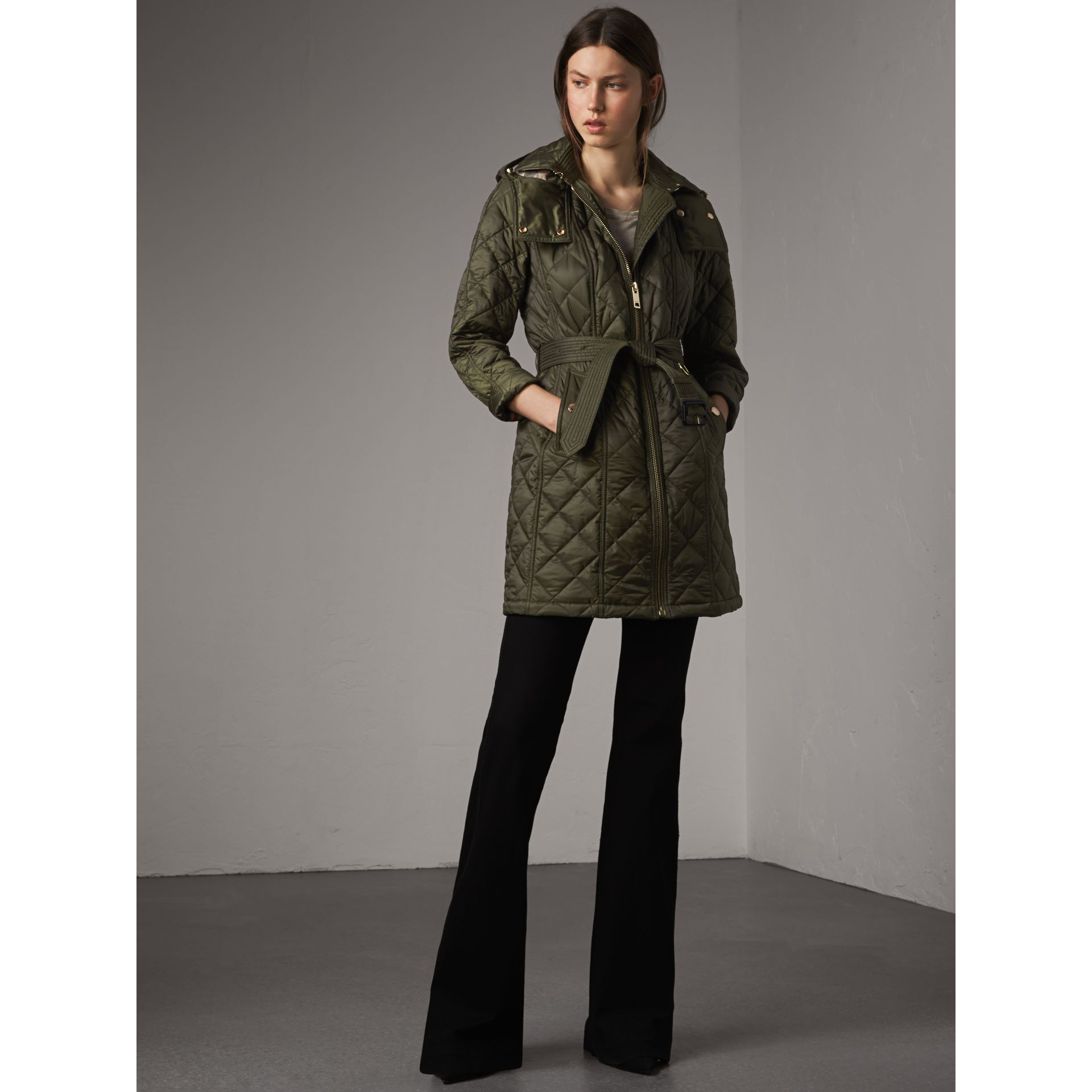 Detachable Hood Quilted Showerproof Parka in Military Khaki - gallery image 1