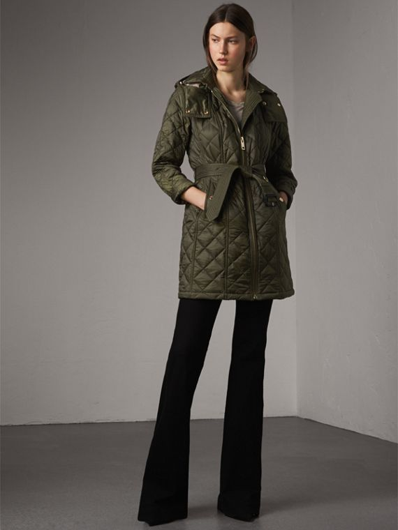 Detachable Hood Quilted Showerproof Parka in Military Khaki - Women | Burberry