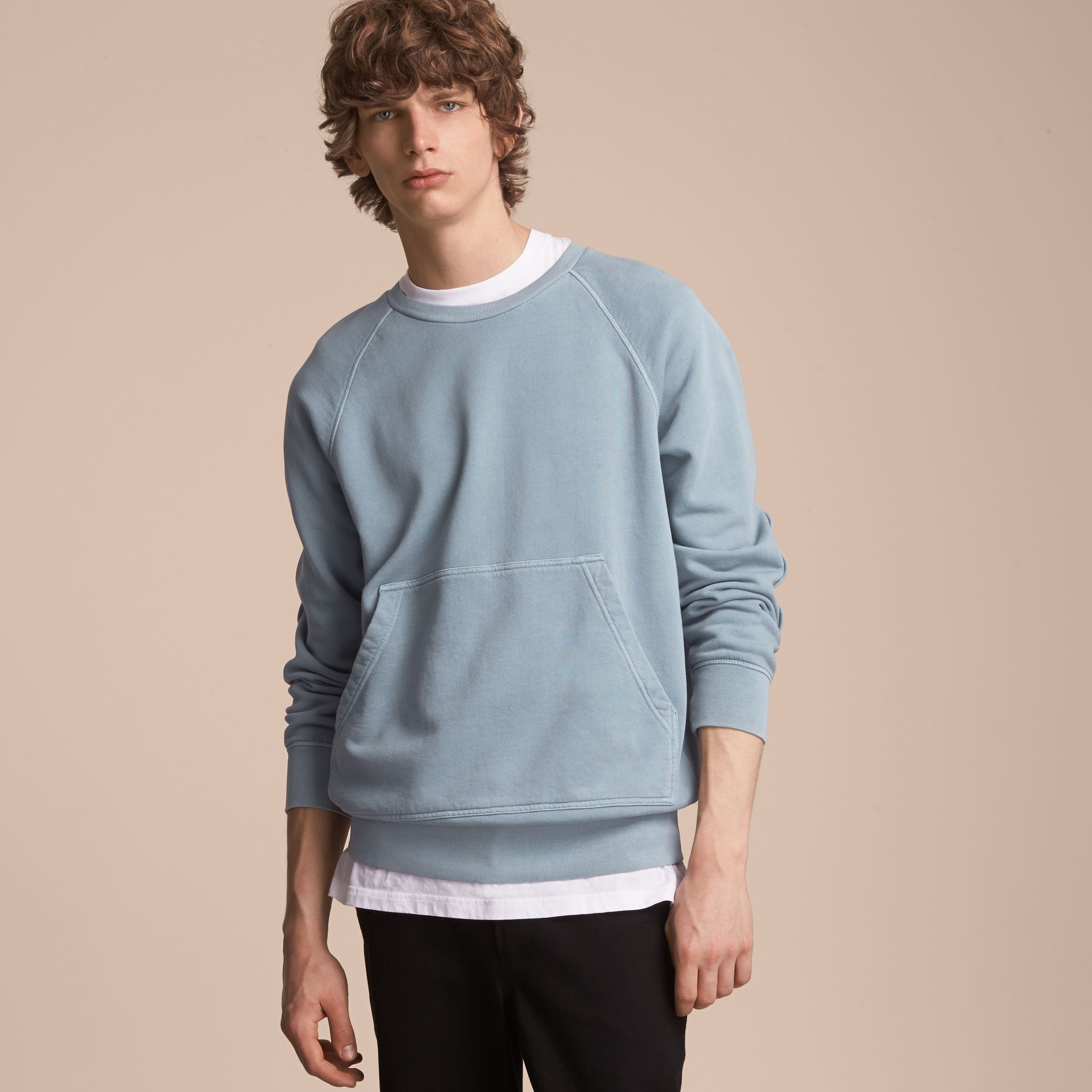 Unisex Pigment-dyed Cotton Oversize Sweatshirt in Dusty Blue - Men | Burberry Hong Kong - gallery image 6