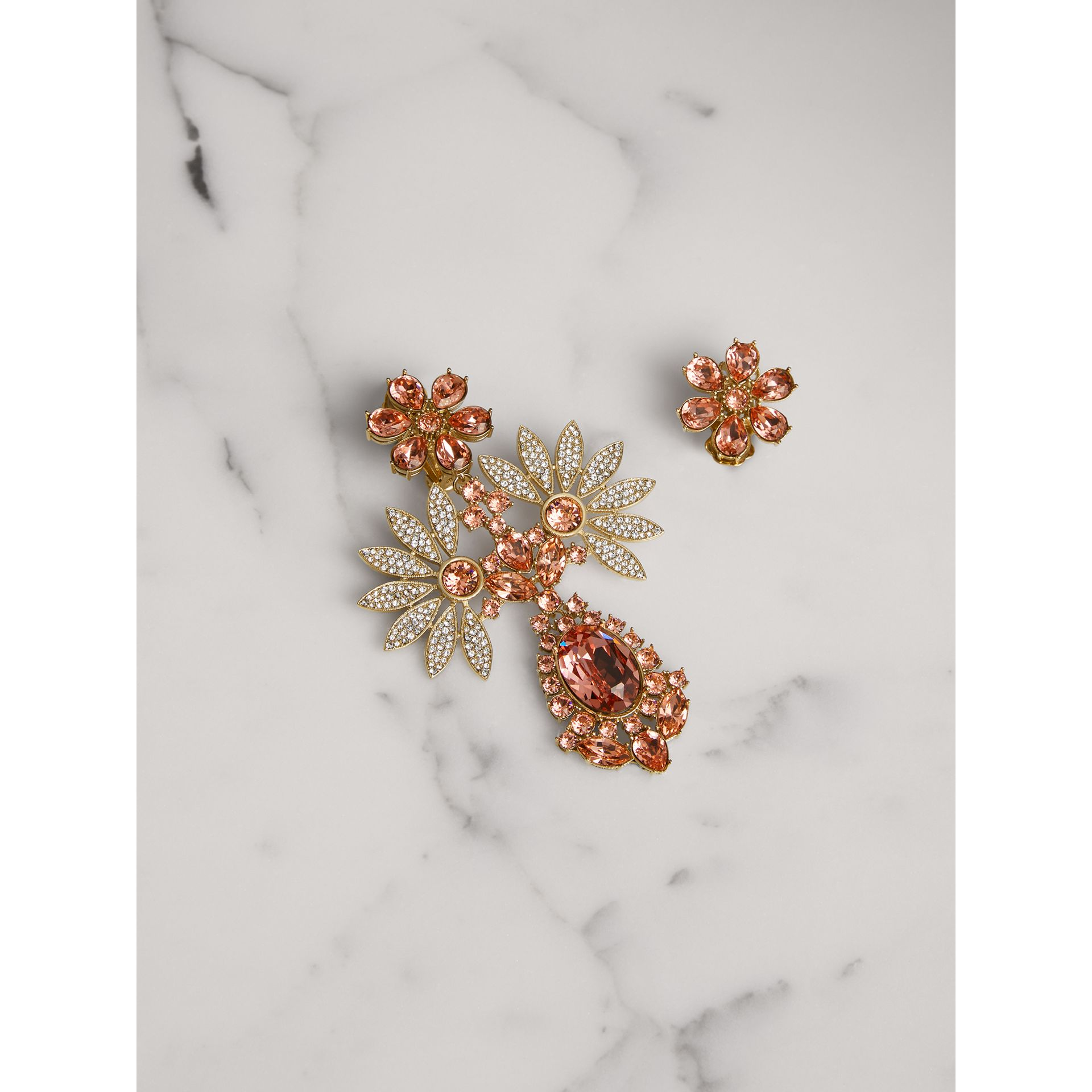 Crystal Double-daisy Drop Earring and Stud Set in Coral Pink - Women | Burberry United Kingdom - gallery image 0