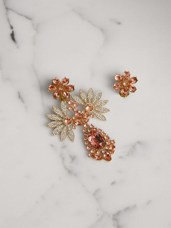 Crystal Double-daisy Drop Earring and Stud Set in Coral Pink