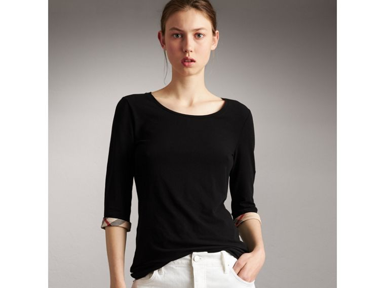 Check Cuff Stretch-Cotton Top in Black - Women | Burberry Hong Kong - cell image 4