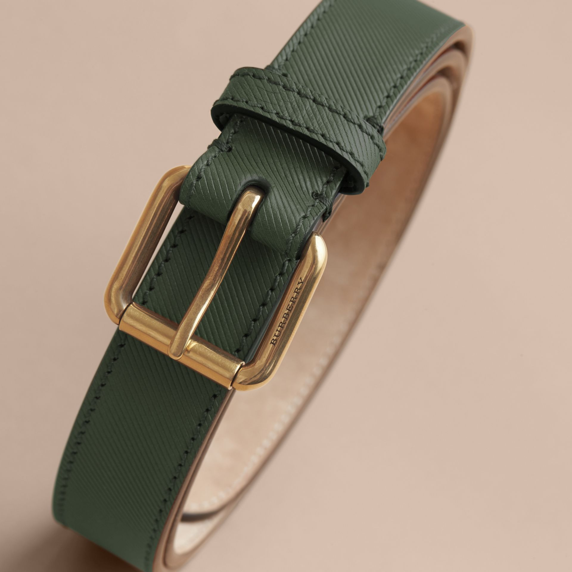 Trench Leather Belt in Dark Forest Green - Men | Burberry Australia - gallery image 4