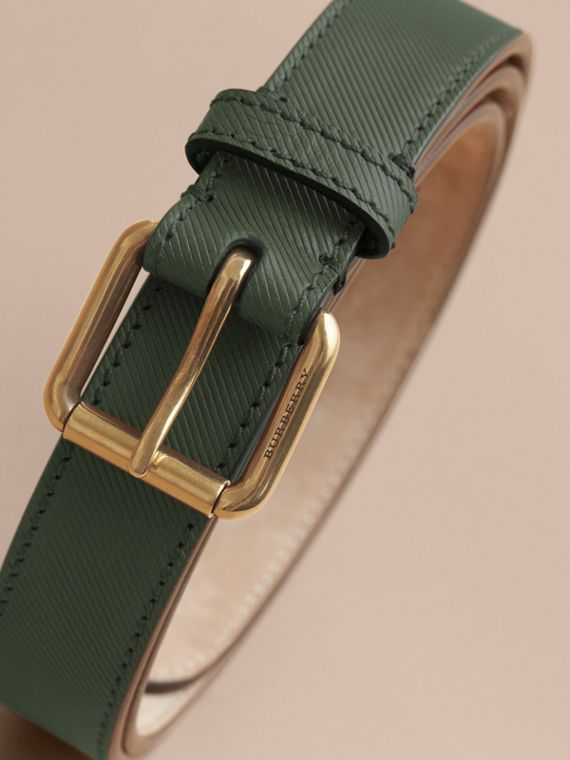 Trench Leather Belt in Dark Forest Green - Men | Burberry Canada - cell image 3