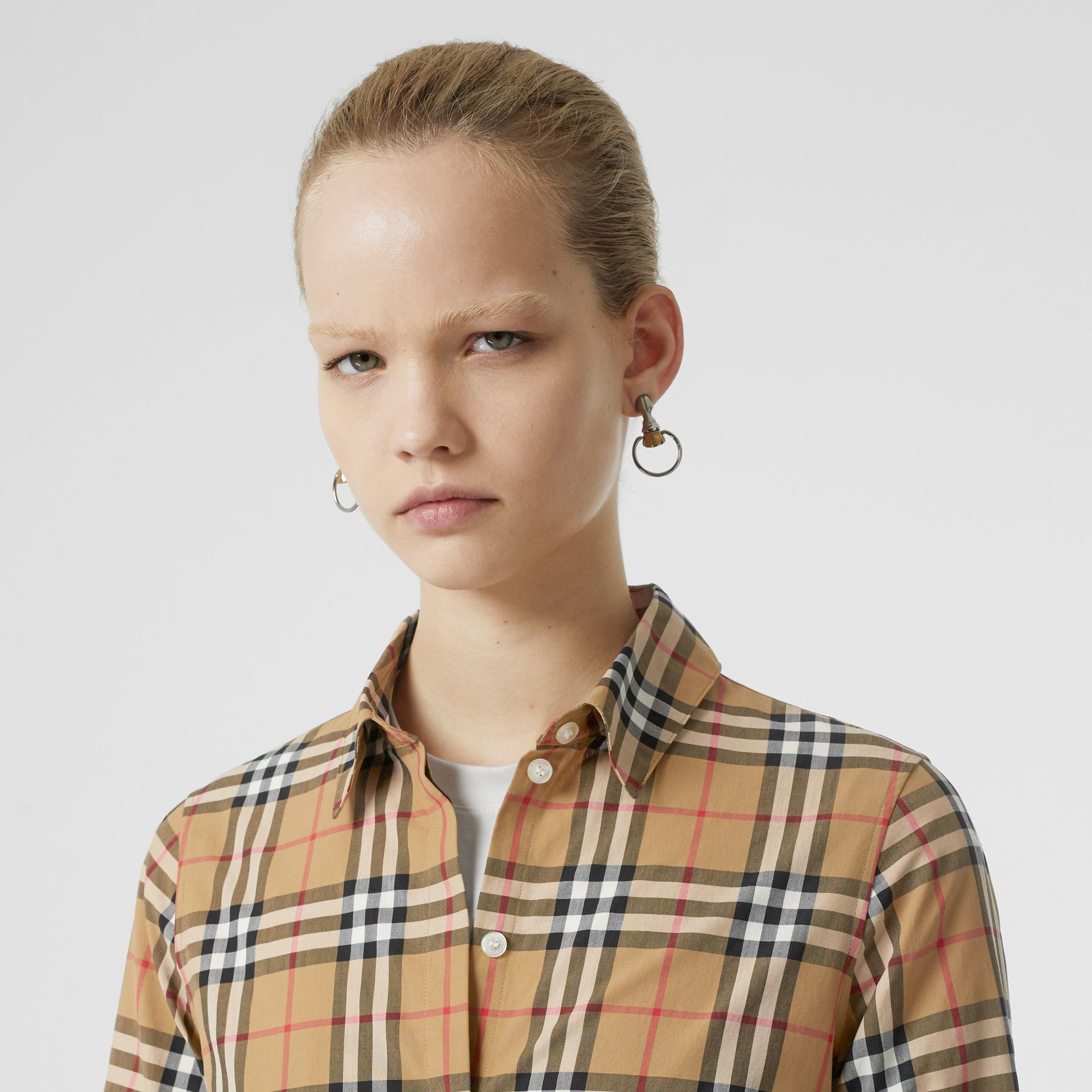 Vintage Check Cotton Shirt in Antique Yellow - Women | Burberry - gallery image 1