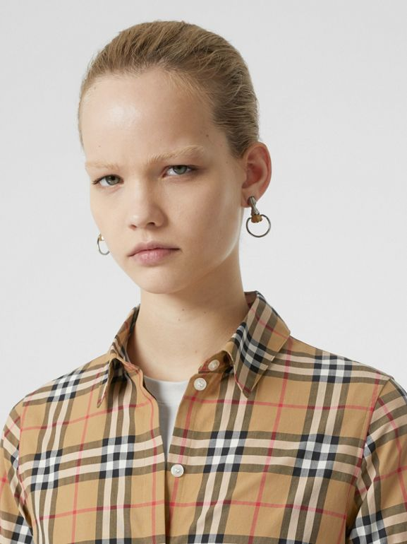 Vintage Check Cotton Shirt in Antique Yellow - Women | Burberry Canada - cell image 1