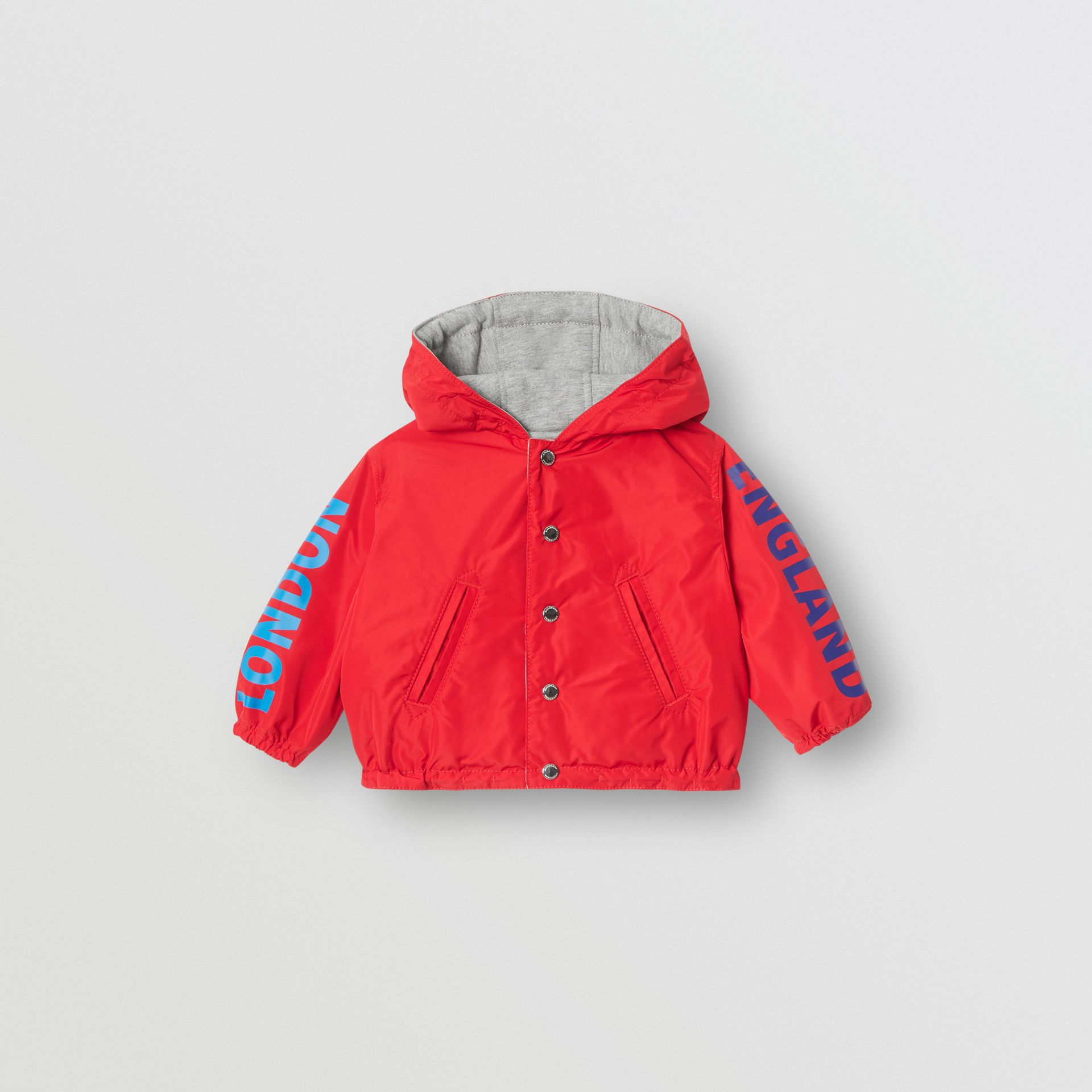 Reversible Logo Print Hooded Jacket in Bright Red - Children | Burberry - gallery image 0