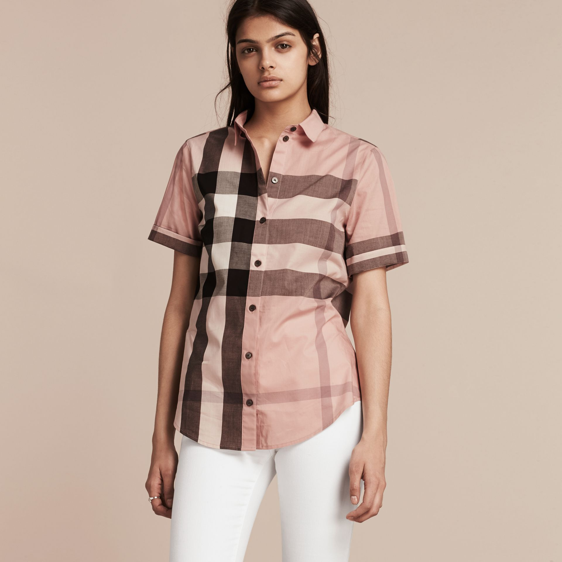 Antique pink Short-sleeved Check Cotton Shirt Antique Pink - gallery image 6