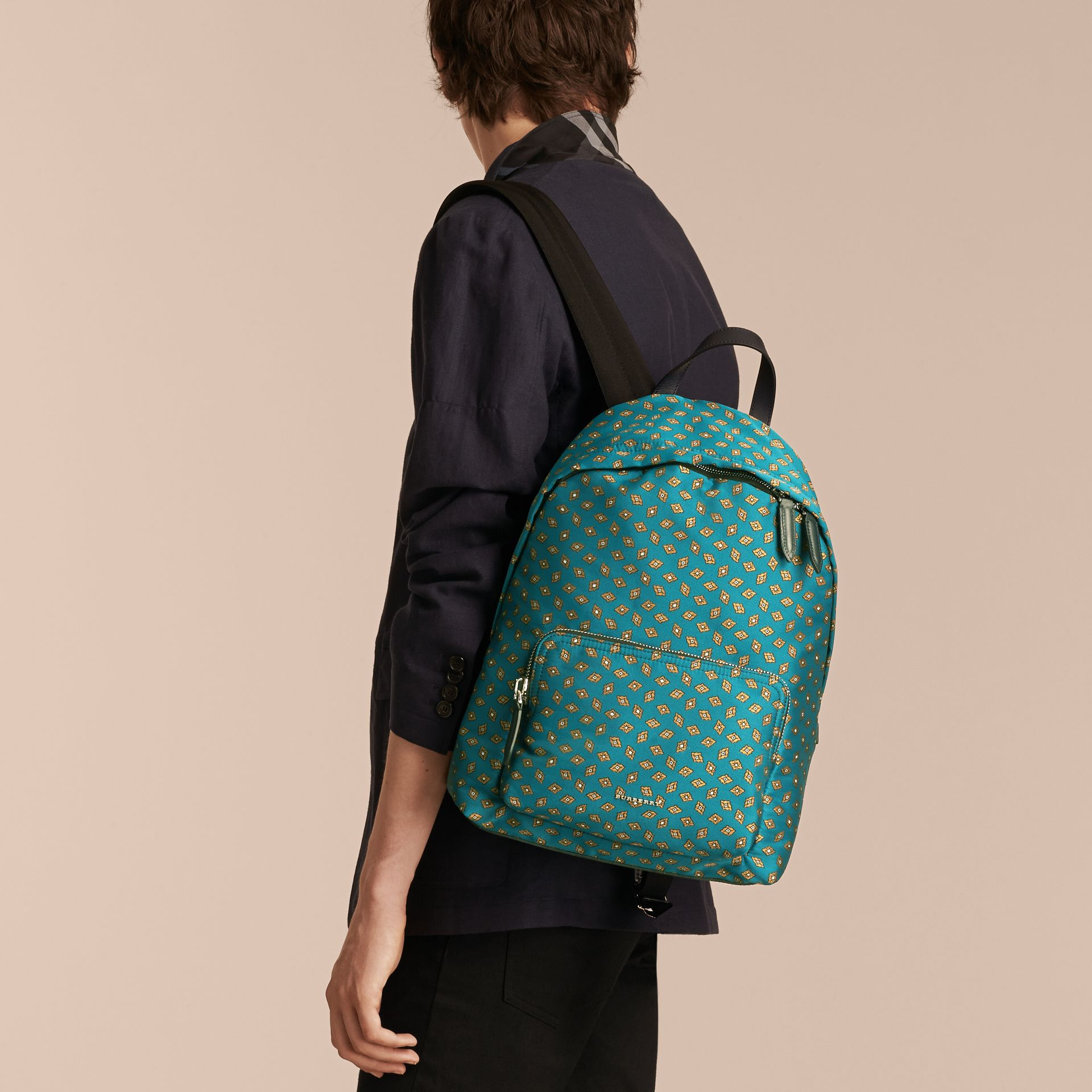 Dark teal Leather Trim Abstract Jacquard Backpack Dark Teal - gallery image 3