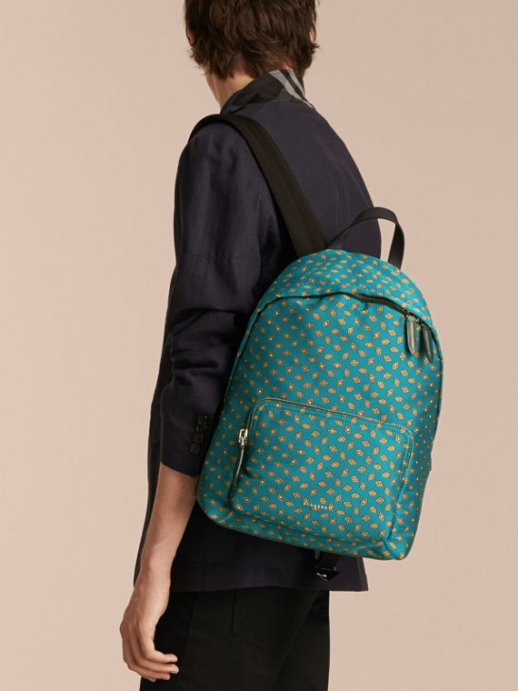 Dark teal Leather Trim Abstract Jacquard Backpack Dark Teal - cell image 2