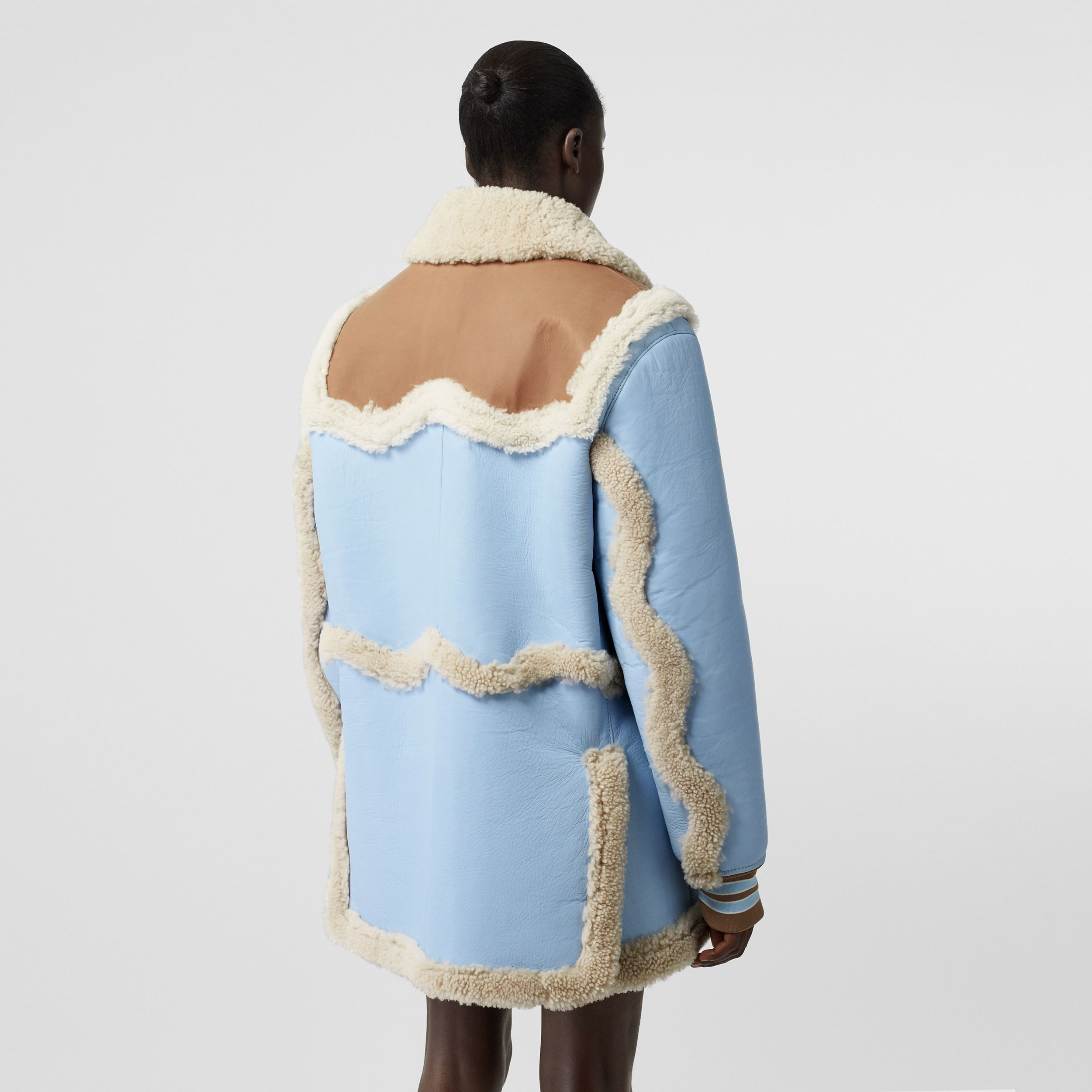 Two-tone Leather and Shearling Coat in Baby Blue - Women | Burberry - 3