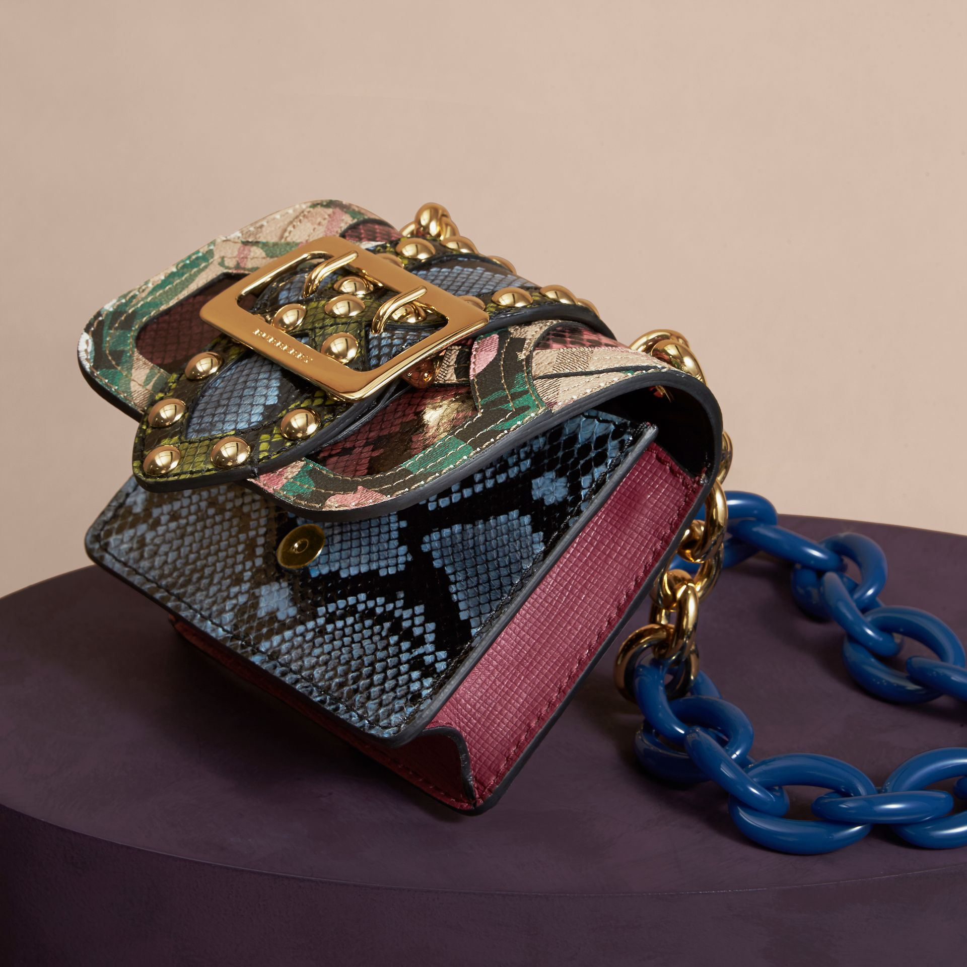Emerald green The Mini Square Buckle Bag in Riveted Snakeskin and Floral Print - gallery image 6