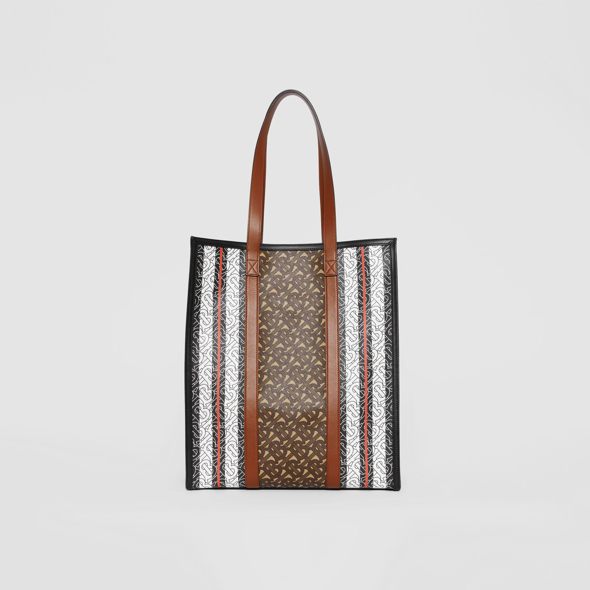 Monogram Stripe E-canvas Portrait Tote Bag in Bridle Brown | Burberry - gallery image 8