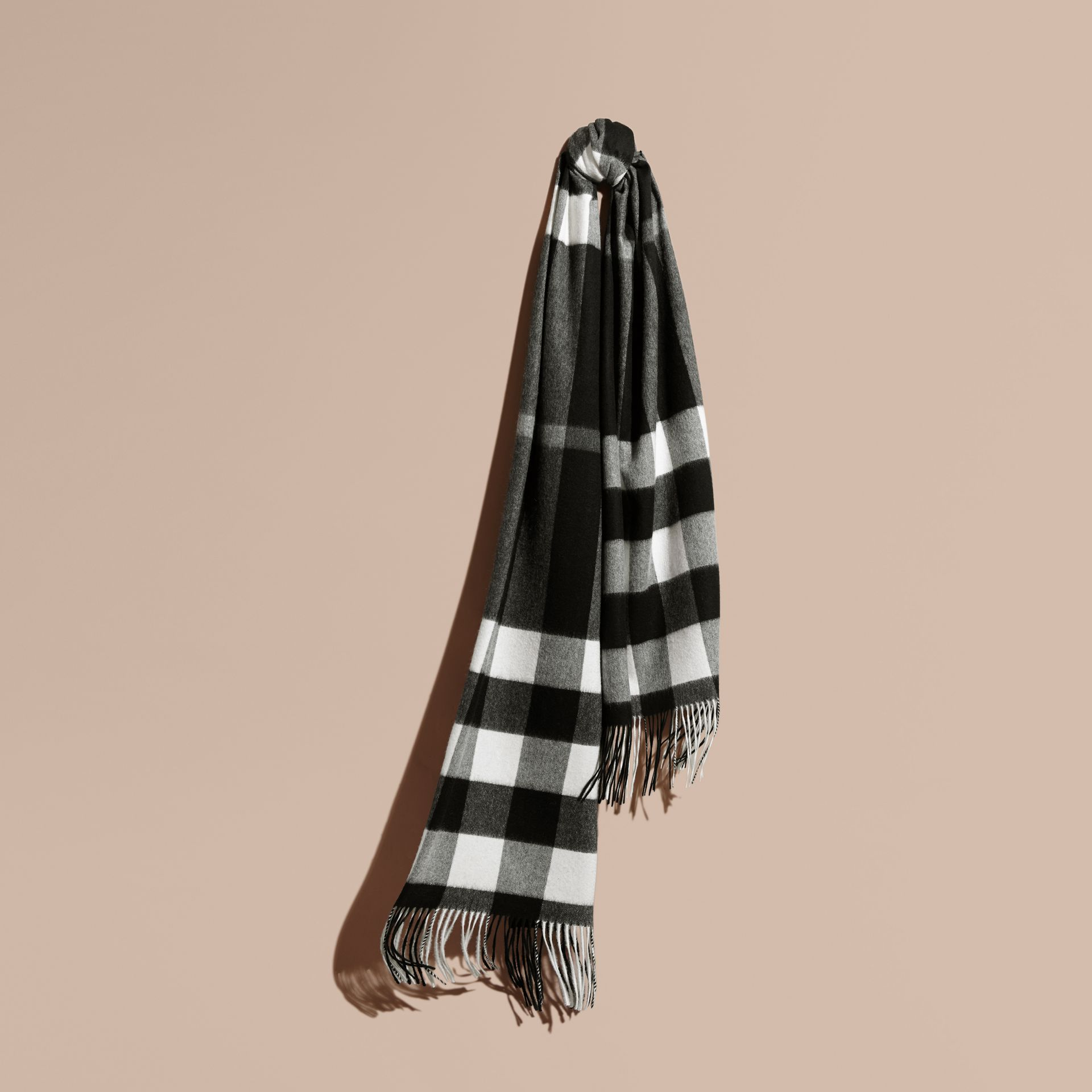 Oversize Check Cashmere Scarf in Black | Burberry - gallery image 1