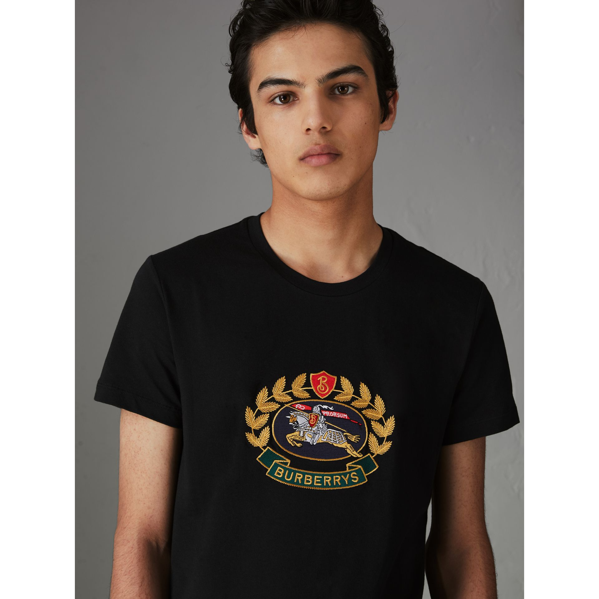Embroidered Archive Logo Cotton T-shirt in Black - Men | Burberry Australia - gallery image 4