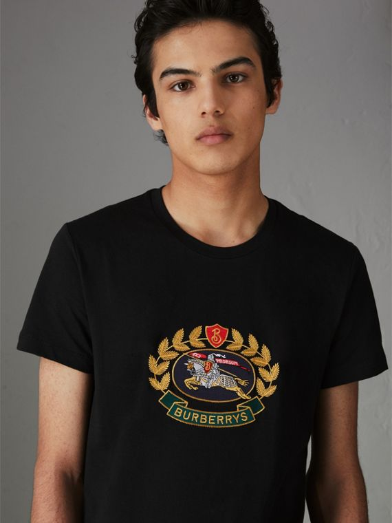 Embroidered Archive Logo Cotton T-shirt in Black
