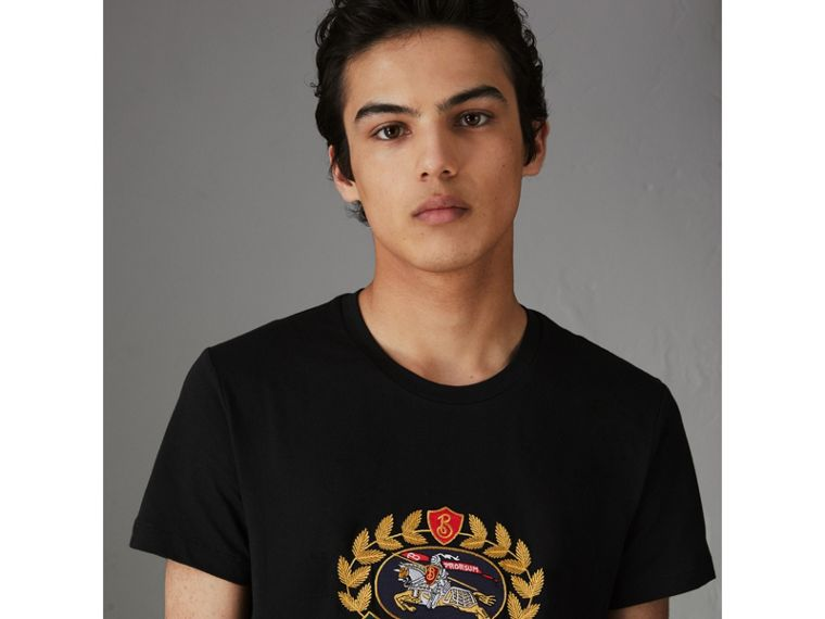 Embroidered Archive Logo Cotton T-shirt in Black - Men | Burberry - cell image 4