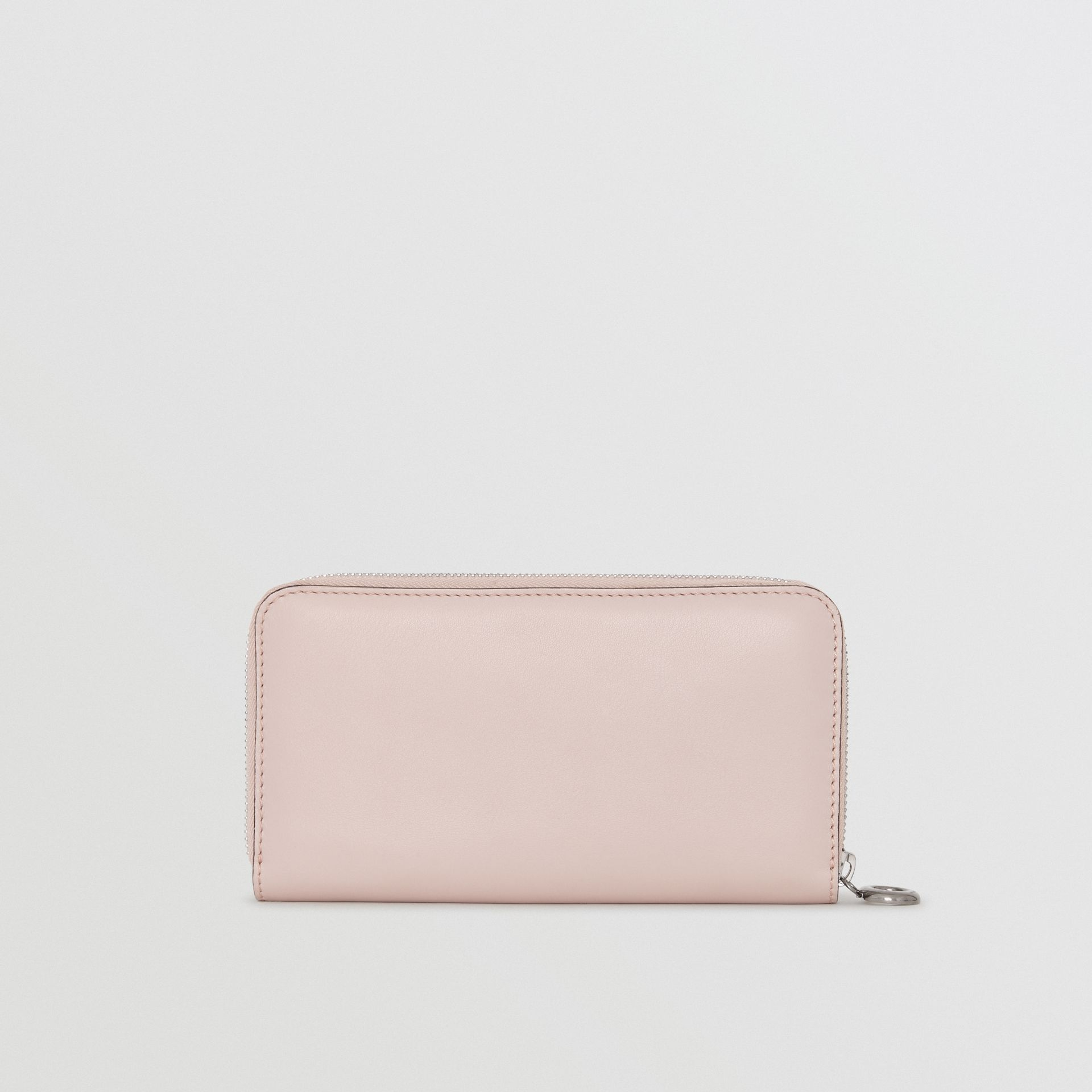 Embossed Crest Two-tone Leather Ziparound Wallet in Chalk Pink - Women | Burberry - gallery image 4