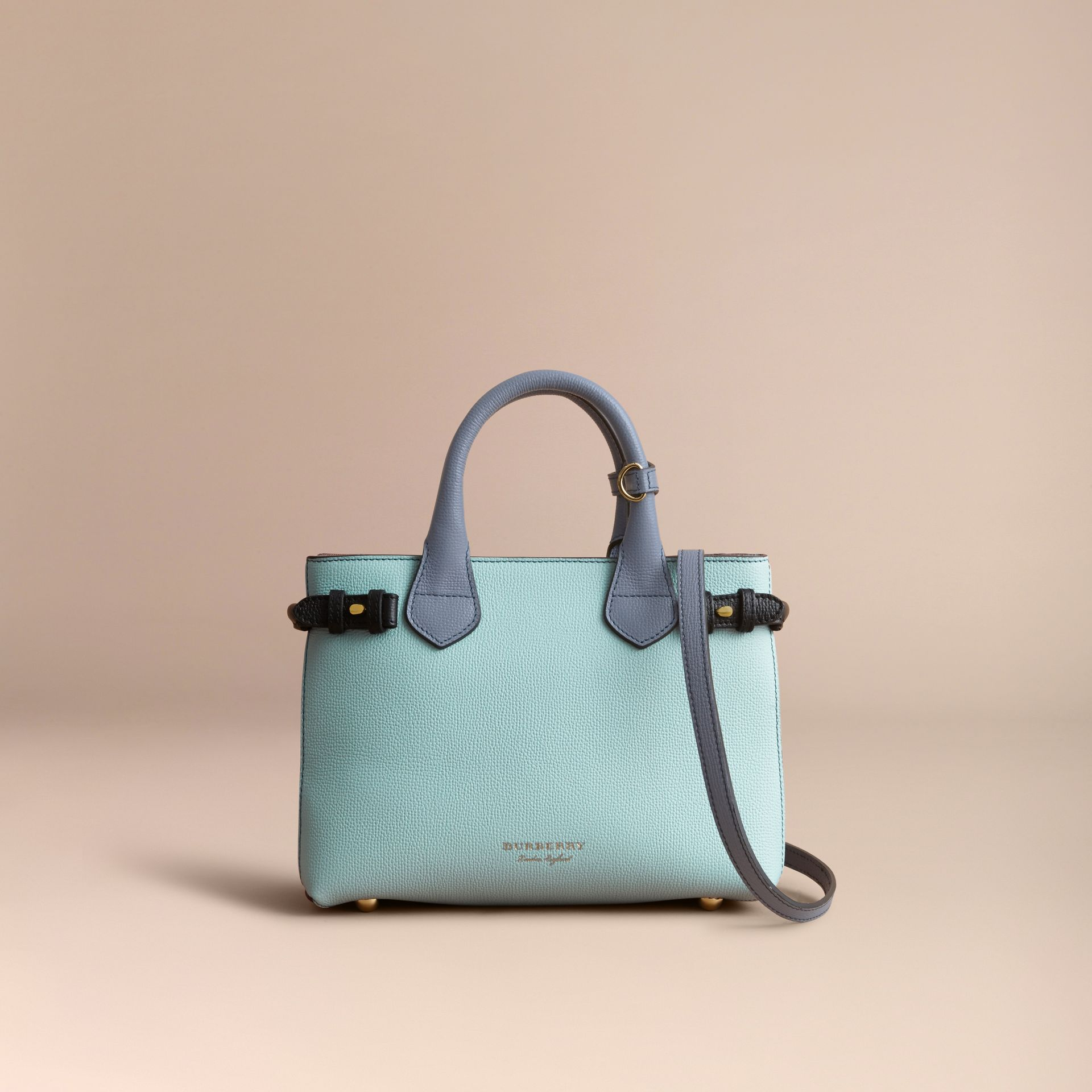 The Small Banner in Tri-tone Leather and House Check in Pale Opal/slate Blue - Women | Burberry - gallery image 8