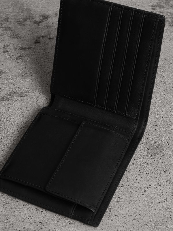 London Check International Bifold Coin Wallet in Navy/black - Men | Burberry United Kingdom - cell image 3