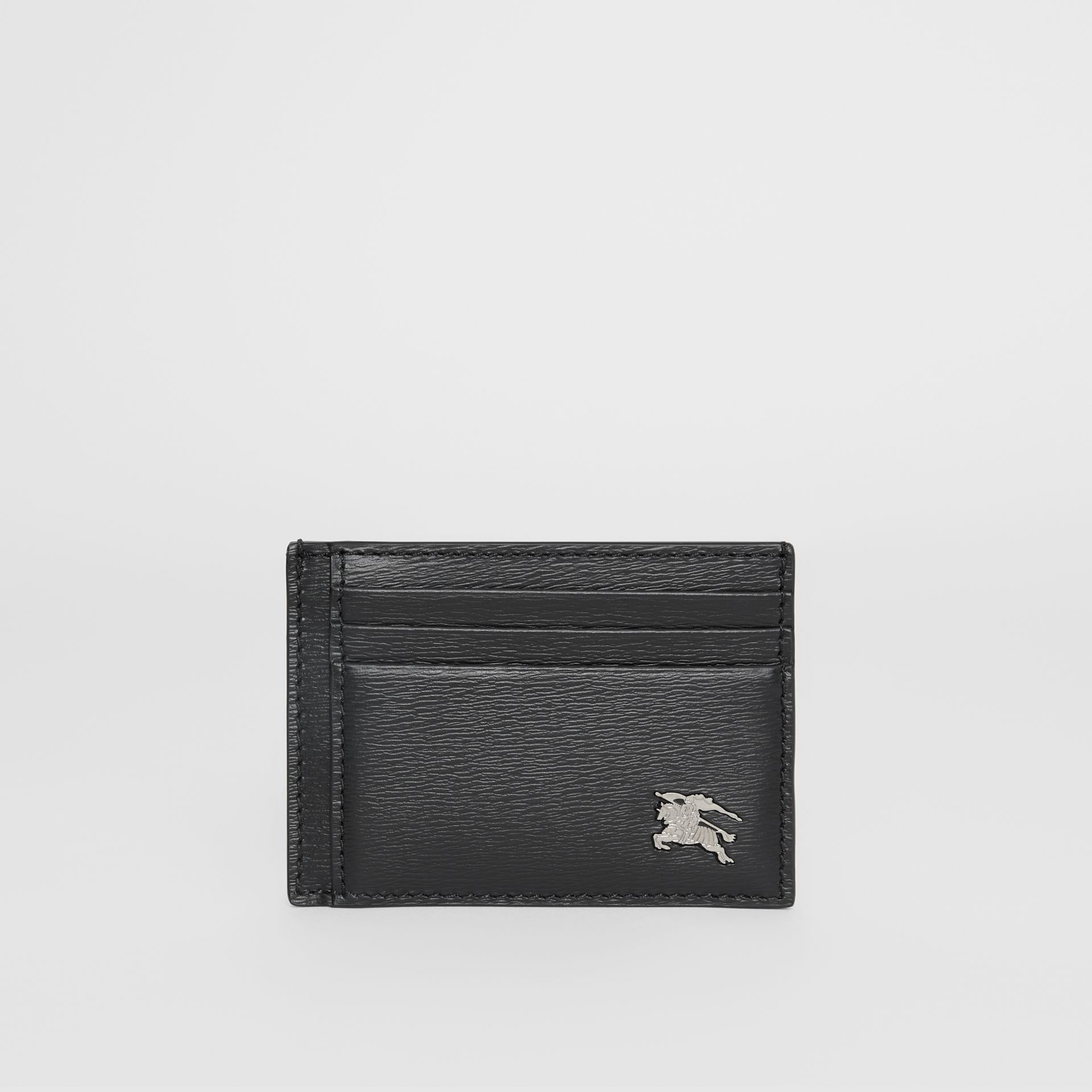 London Leather Money Clip Card Case in Black - Men | Burberry United States - gallery image 0