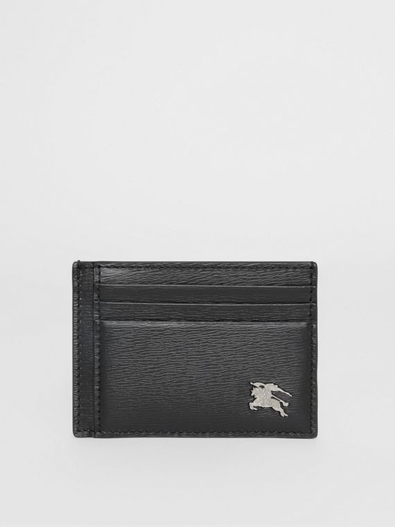 London Leather Money Clip Card Case in Black