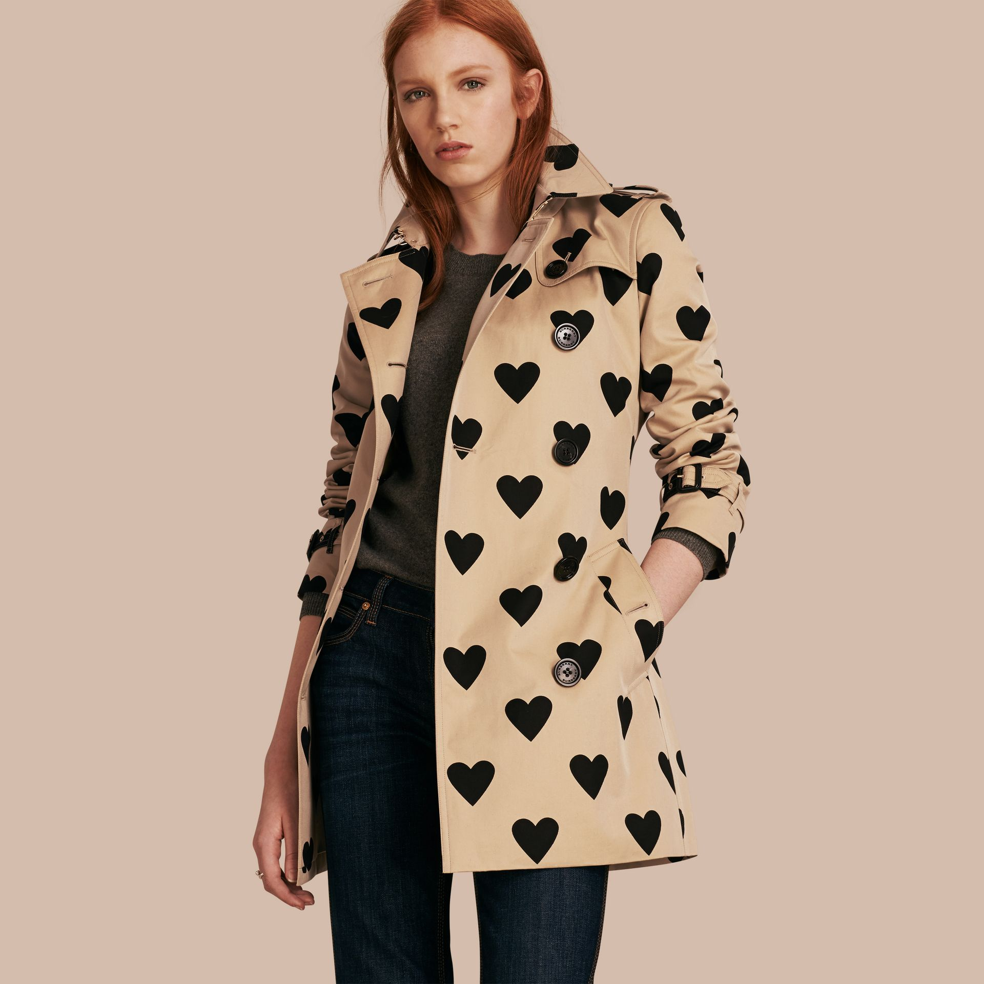 Black/honey Heart Print Cotton Gabardine Trench Coat - gallery image 1