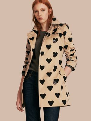 Heart Print Cotton Trench Coat