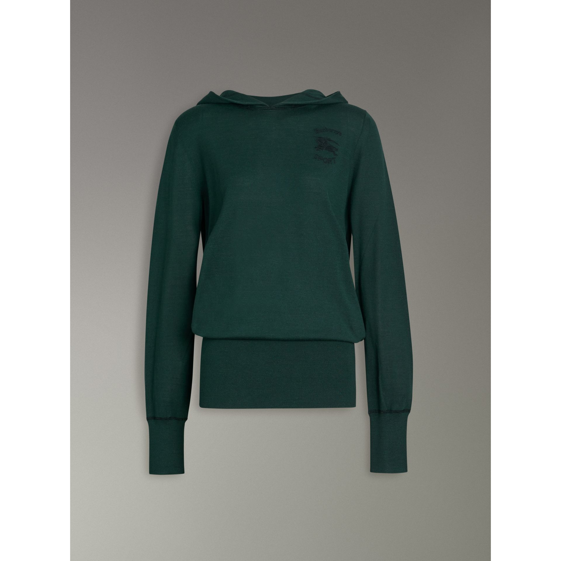Embroidered Silk Cashmere Hoodie in Pigment Green - Women | Burberry - gallery image 3