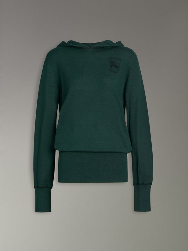 Embroidered Silk Cashmere Hoodie in Pigment Green - Women | Burberry - cell image 3
