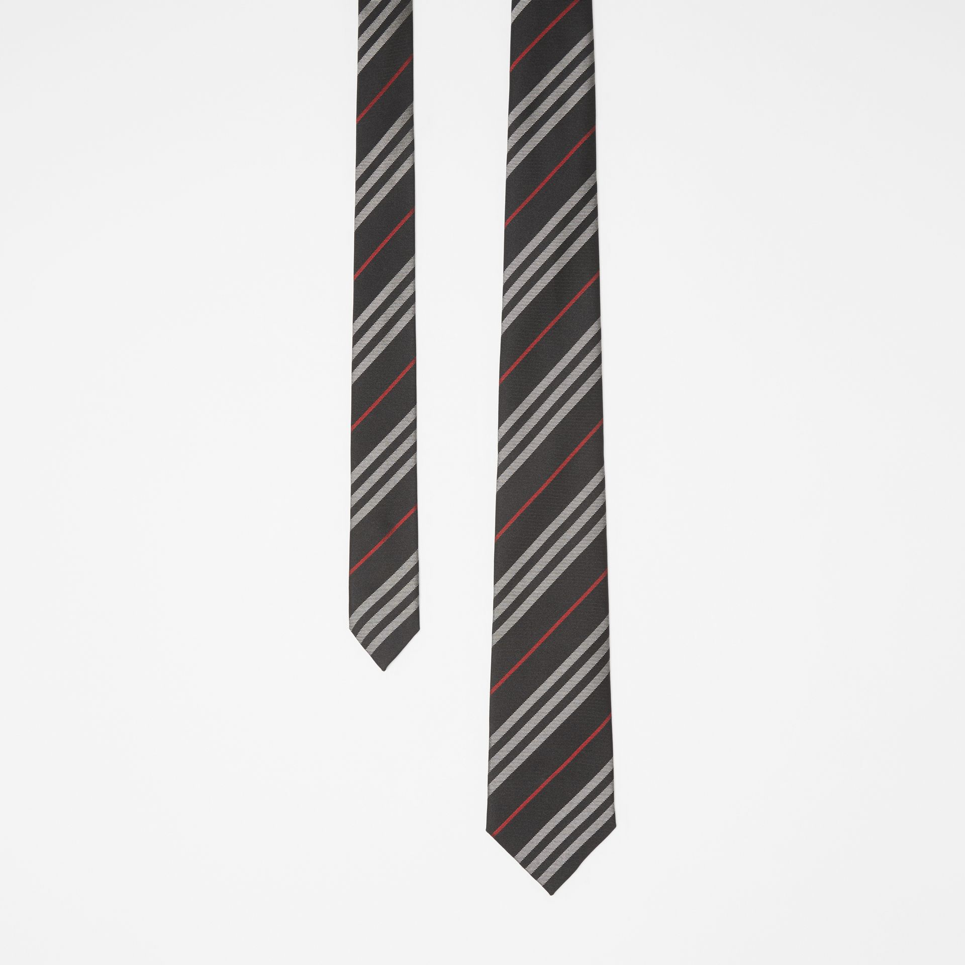 Classic Cut Striped Silk Jacquard Tie in Black - Men | Burberry - gallery image 0