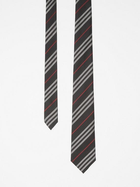 Classic Cut Striped Silk Jacquard Tie in Black