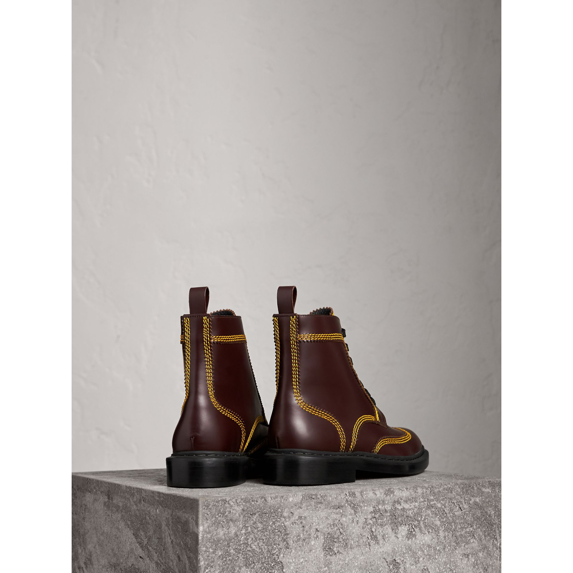 Topstitched Leather Derby Boots in Bordeaux - Men | Burberry - gallery image 3