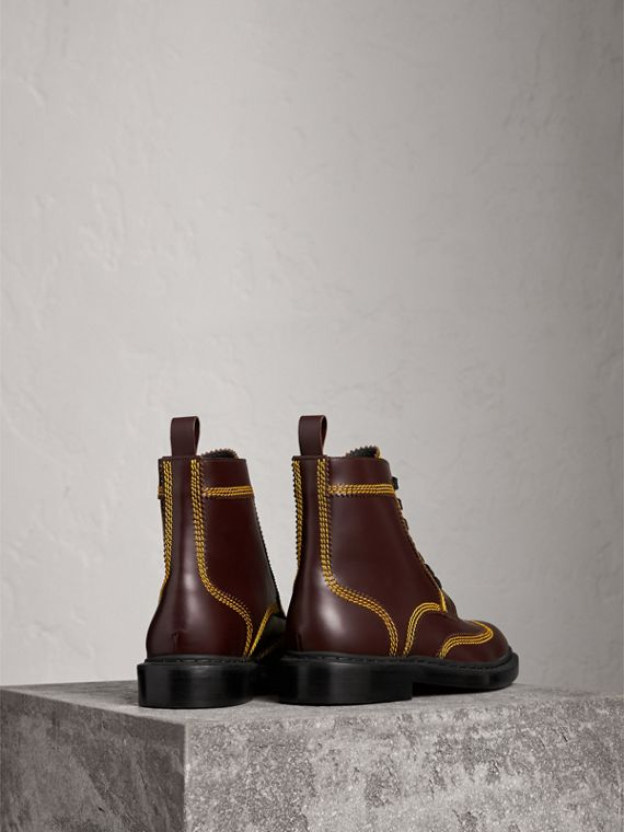 Topstitched Leather Derby Boots in Bordeaux - Men | Burberry - cell image 3