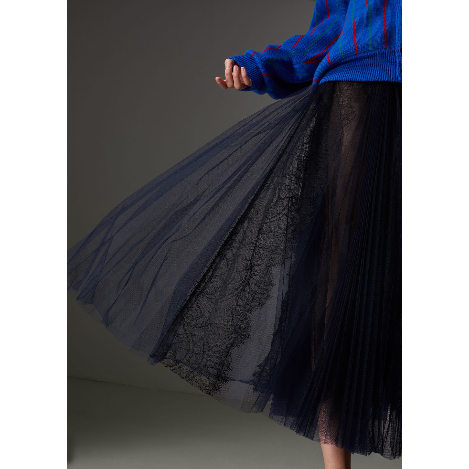 Lace Panel Pleated Tulle Skirt in Navy - Women | Burberry - gallery image 1