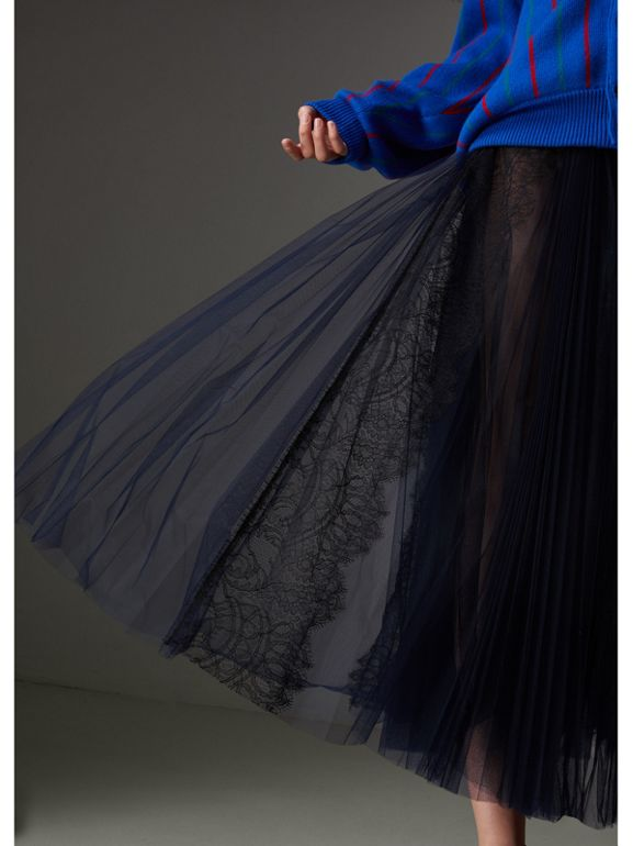 Lace Panel Pleated Tulle Skirt in Navy - Women | Burberry - cell image 1