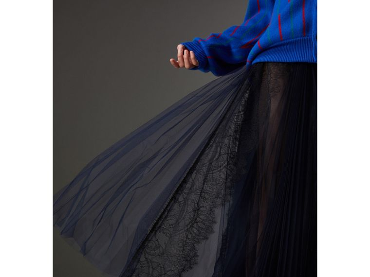 Lace Panel Pleated Tulle Skirt in Navy - Women | Burberry Australia - cell image 1
