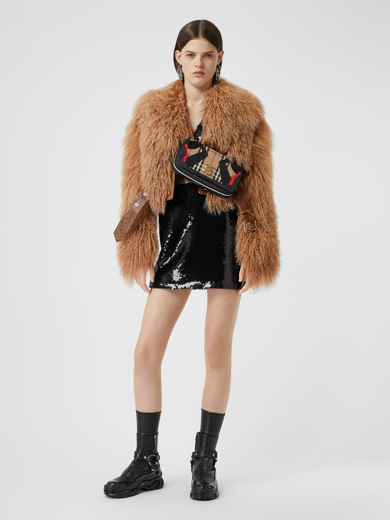 Shearling and Embossed Leather Biker Jacket in Brown