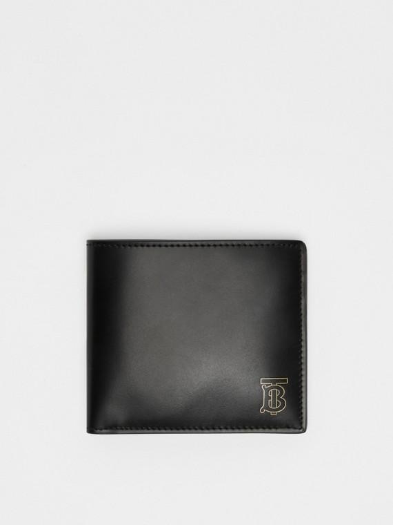 Carteira dobrável de couro com monograma - Internacional (Preto)