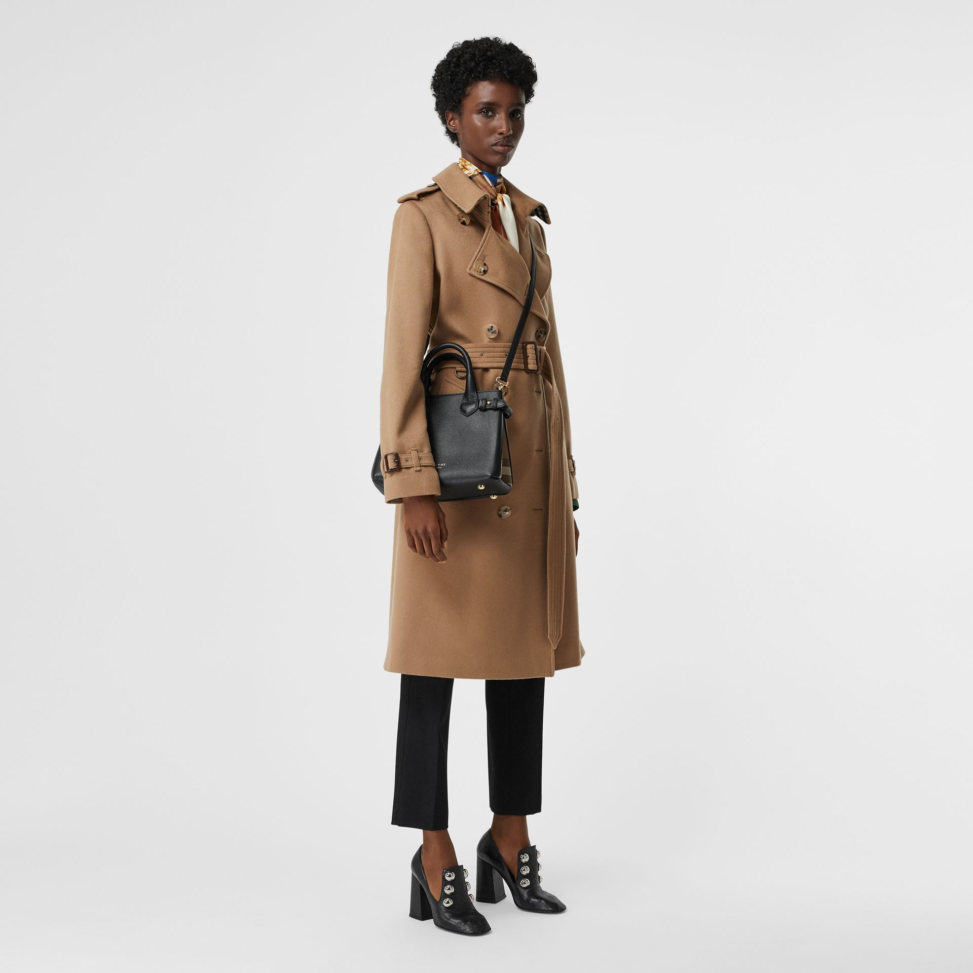 The Small Banner in Leather and House Check in Black - Women | Burberry - gallery image 2