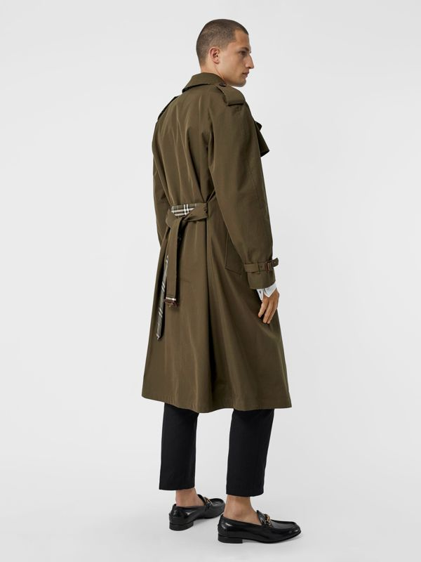Reversible Tropical Gabardine and Check Trench Coat in Olive Green - Men | Burberry United Kingdom - cell image 2