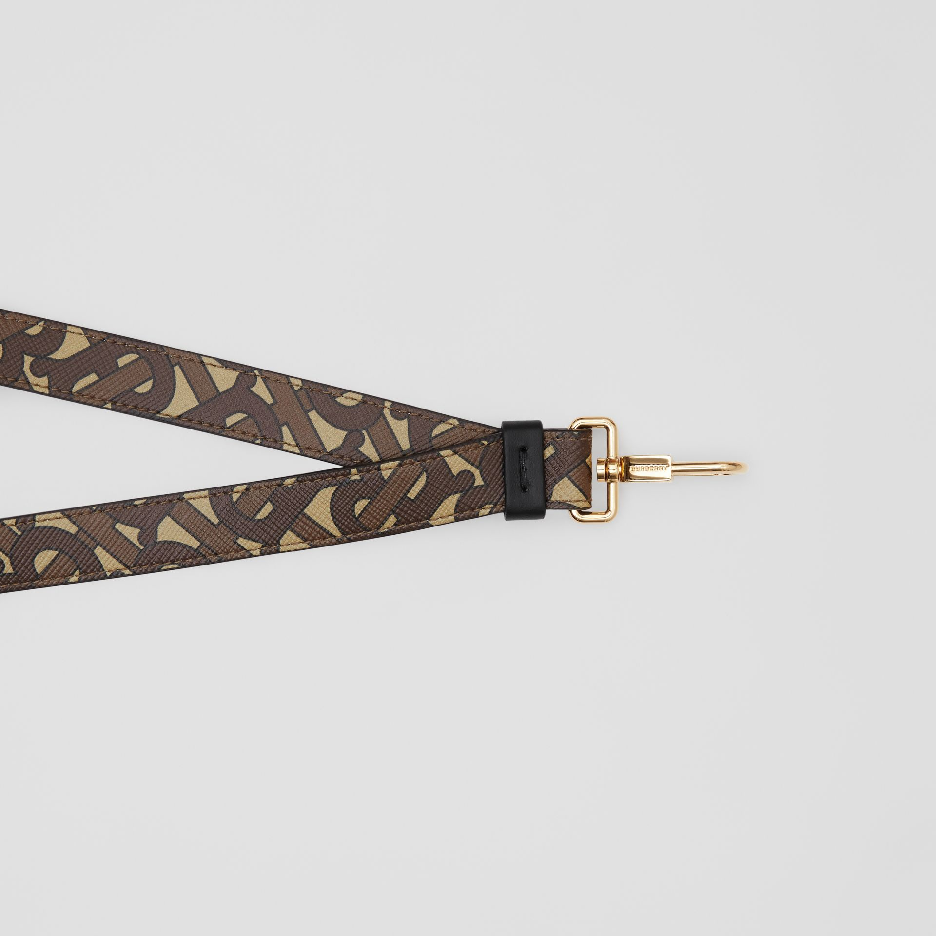 Monogram Print E-canvas and Leather Lanyard in Bridle Brown - Men | Burberry - gallery image 1